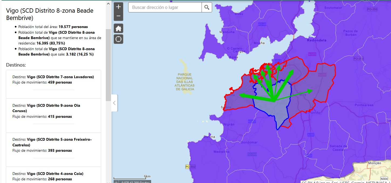 Mobilidade cara ás áreas industriais e localizacións dos hospitais nos arredores de Vigo.
