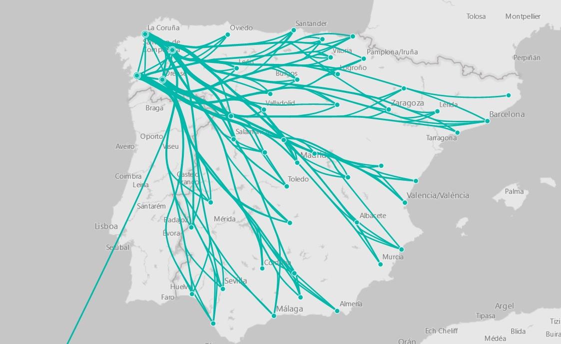 Representación da mobilidade desde as catro provincias galegas segundo un estudo que usou a localización dos teléfonos móbiles en 2018. Fonte: Ministerio de Transportes.
