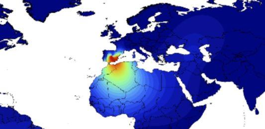 Mapa que representa a frecuencia da variante B3a, detectada de forma notable na península Ibérica. Fonte: Salas et al.