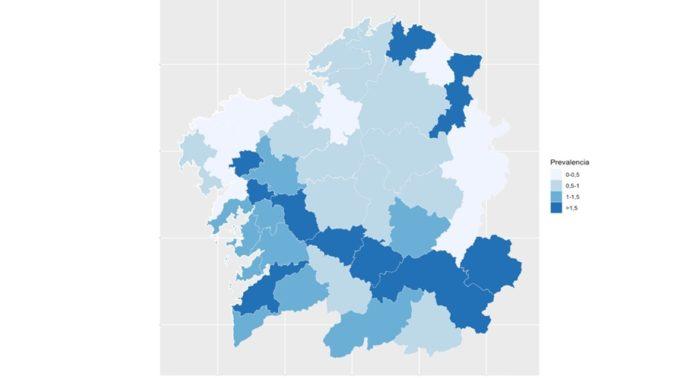 Mapa de prevalencia do coronavirus nas 45 áreas nas que se dividiu a enquisa do Sergas. Fonte: Consellería de Sanidade.