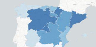 Incidencia acumulada nos últimos 14 días en España. Fonte: Ministerio de Sanidad / ISCIII.