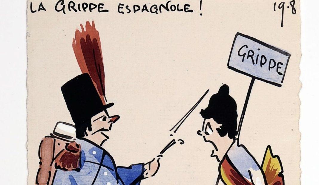 Caricatura da gripe española.