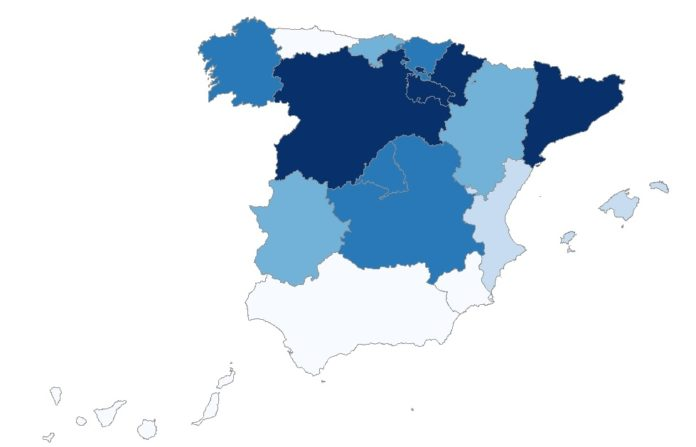 Mapa de incidencia acumulada en España nos últimos 14 días. Fonte: Renave/ISCIII.