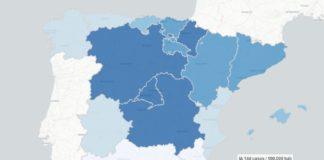 A incidencia acumulada en Galicia é unha das menores das comunidades autónomas de España. Fonte: ISCIII.