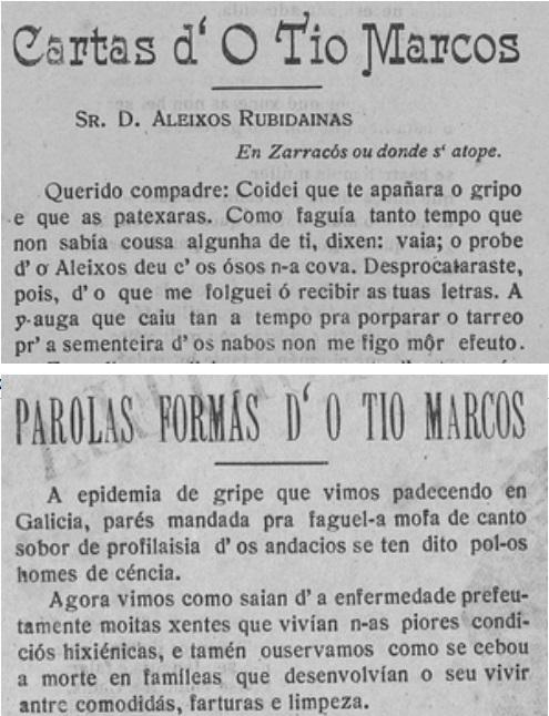 A gripe do 1918 no xornal O Tío Marcos d'a Portela.