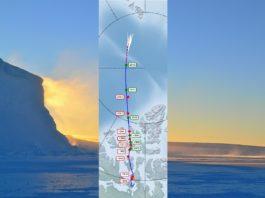 Localización do polo norte magnético entre 1831 e 2019. Fonte: Nature Geosciences.