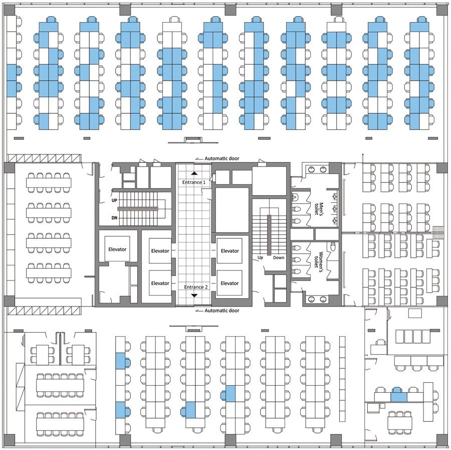 Andar 11 dun edificio de Seúl (Corea do Sur) onde se detectou un foco de SARS-CoV-2 nunha oficina dun centro de chamadas. A cor azul indica os asentos onde traballaban persoas que deron positivo nas probas. Fonte: Emerging Infectious Diseases.