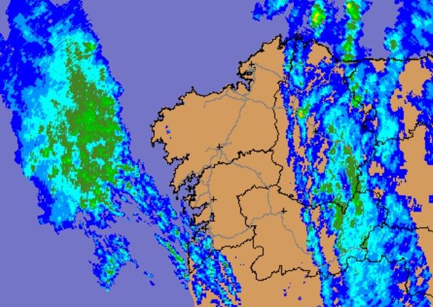 Radar de MeteoGalicia no mediodía do luns.