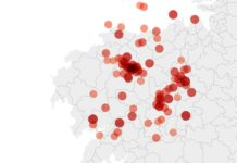 Mapa de terremotos entre 1973 e 2020 no oeste da provincia da Coruña. Fonte: IGN/Elaboración propia.