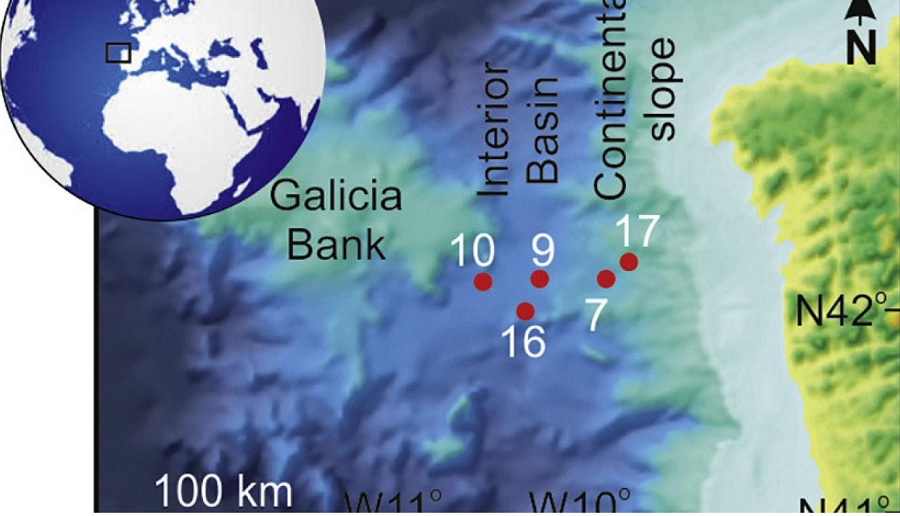 Localización dos núcleos analizados na Conca Interior de Galicia, con diferenciación dos tres dominios principais. Fonte: Global and Planetary Change.