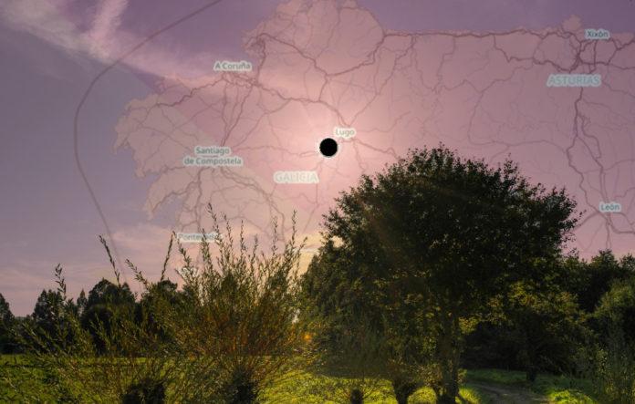 A eclipse será total nunha franxa que abrangue arredor da metade do territorio de Galicia. Imaxe orixinal de Noel Feáns / CC BY 2.0.