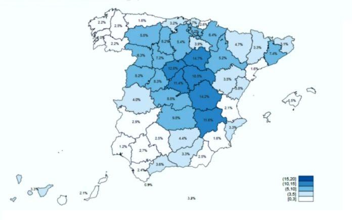 Mapa de anticorpos IgG nas provincias españolas despois da segunda onda do estudo ENE-COVID19. Fonte: ISCIII/Ministerio de Sanidad.