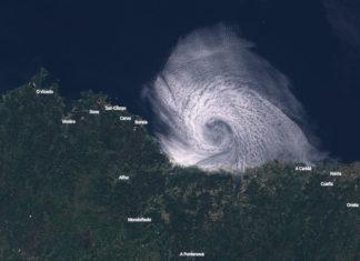 Remuíño visto desde o satélite na Mariña de Lugo o pasado 29 de maio. Fonte: Sentinel.