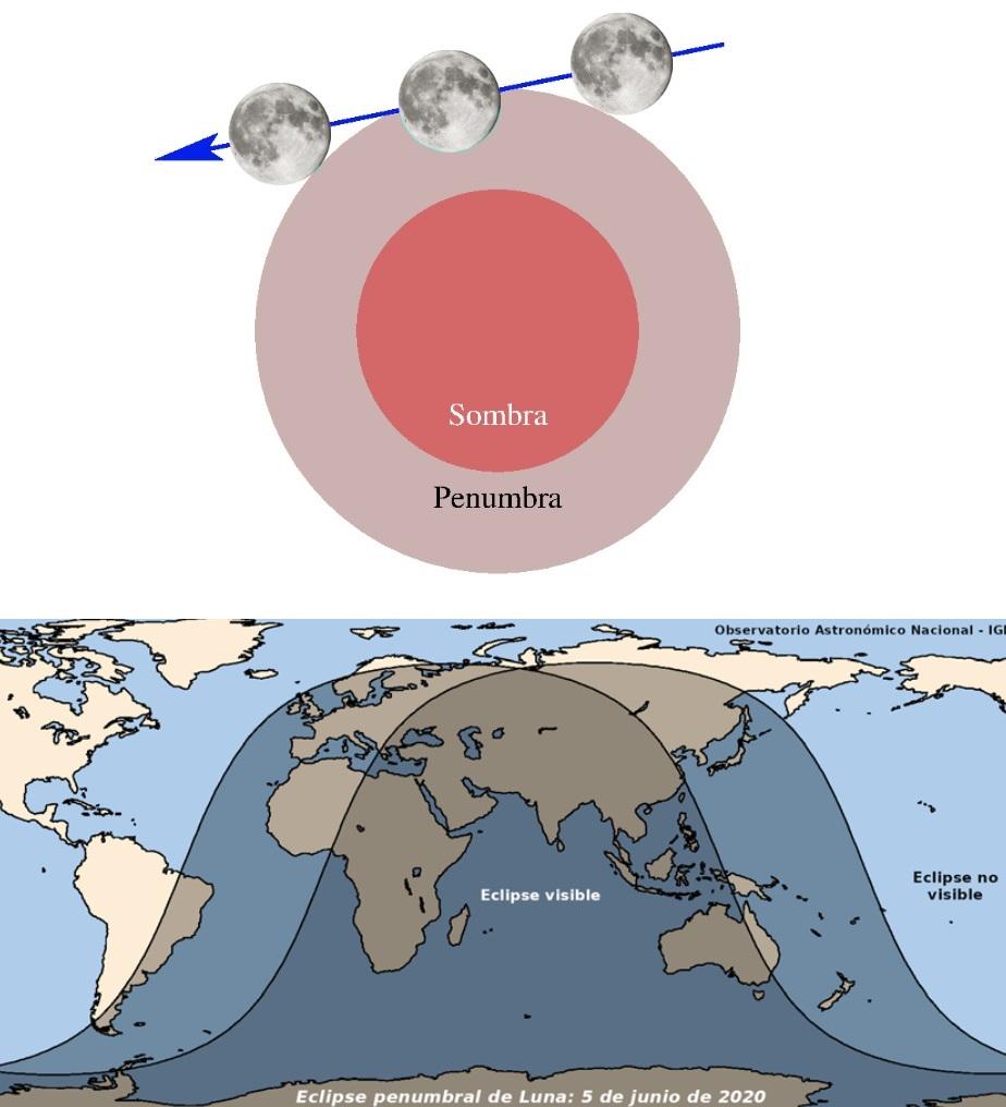 Esquema da eclipse penumbral e mapa de visibilidade. Fonte: IGN.