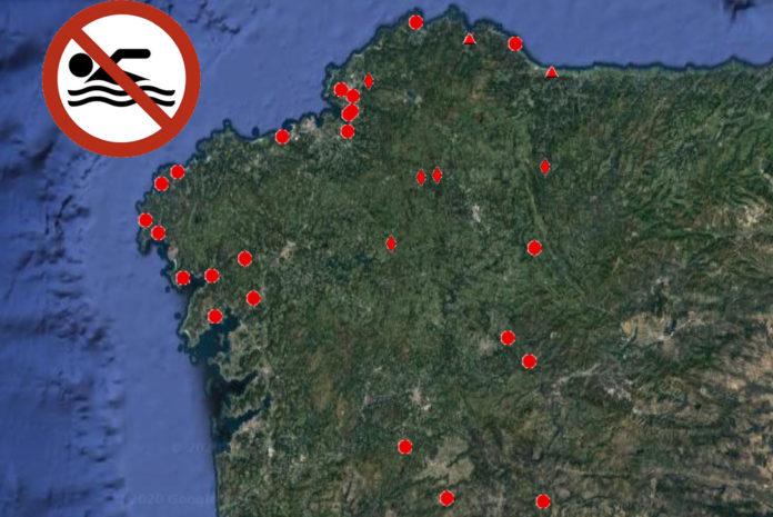 Praias nas que non está permitido bañarse este verán en Galicia. Fonte: Consellería de Sanidade.