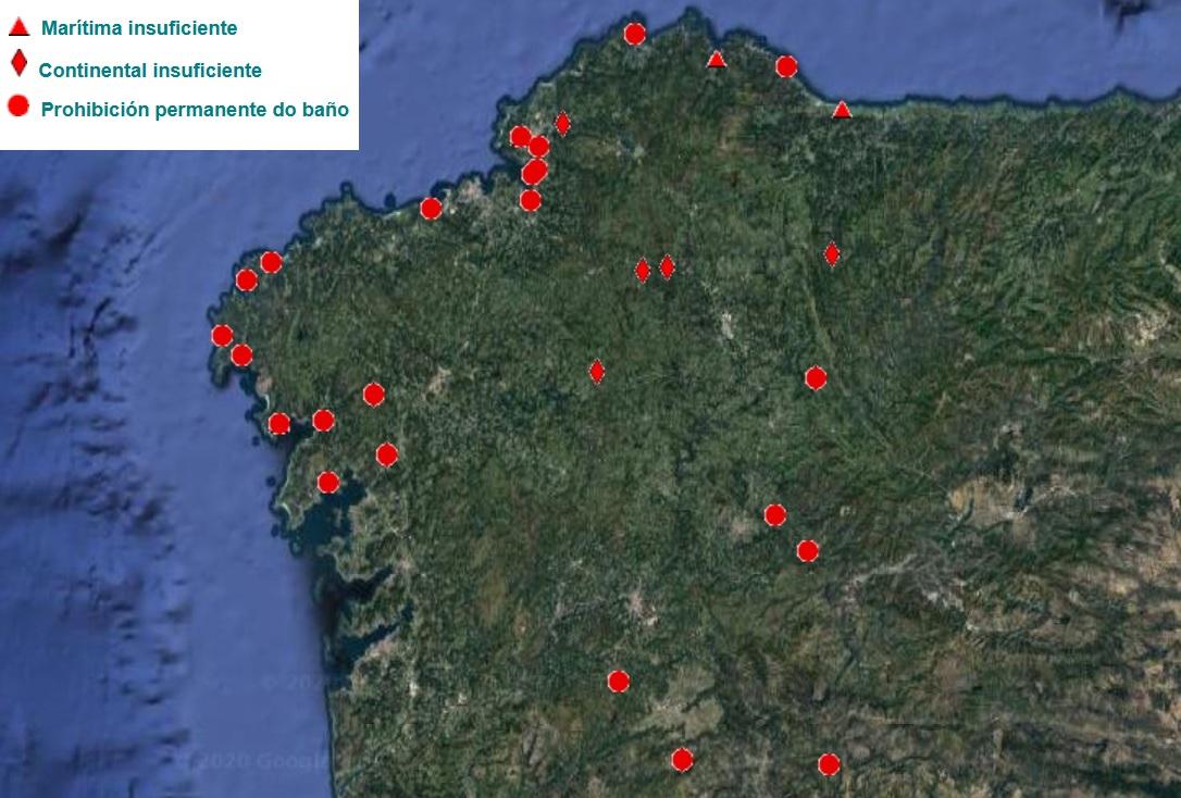 Mapa das zonas de baño con calidade insuficiente ou prohibición permanente en Galicia. Fonte: Dirección Xeral de Saúde Pública.