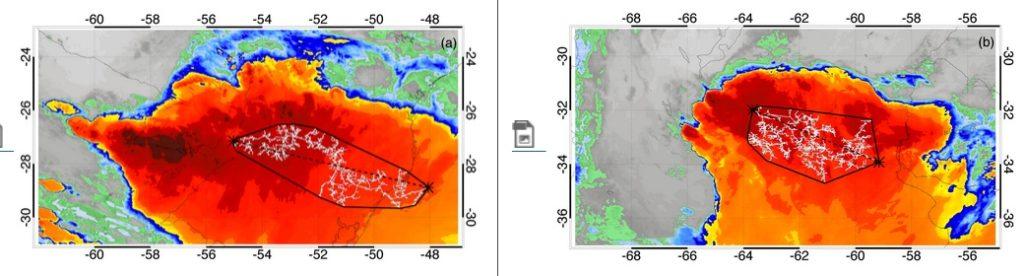 Imaxes tomadas por satélite do raio máis longo (esquerda) e o de maior duración (dereita). Fonte: WMO.
