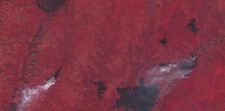 Imaxes en falso color dos incendios activos nos últimos días preto de Verkhoyansk, no leste de Siberia, que acadou temperaturas de 38º. Fonte: Sentinel-2.