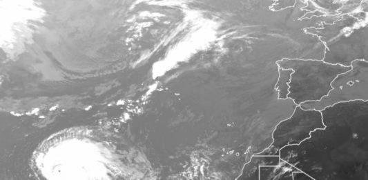 Imaxe do furacán Lorenzo, o 29 de setembro de 2019 no Atlántico. Foi o furacán de categoría 5 máis preto de Europa desde que existen rexistros. Fonte: Eumetsat.