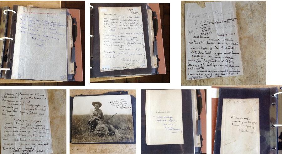 Diversos manuscritos e dedicatorias de Hemingway en posesión da familia de Manolo Asper.