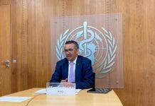 Tedros Adhanom Ghebreyesus, director xeral da OMS, nunha comparecencia a comezos de xullo. Foto: OMS.