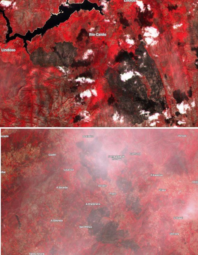 Imaxe da superficie afectada polos incendios recentes en Lobios (arriba) e Cualedro e Monterrei (abaixo) tomadas polo satélite Sentinel-2, procesado con cor falsa que permite distinguir as áreas queimadas do resto da vexetación. Fonte: Sentinel Hub.