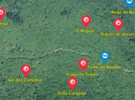 Zona do concello da Fonsagrada, con varios microtopónimos. Fonte: Galicia Nomeada.