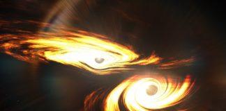 Recreación artística que da colisión de buracos negros que deu pé ao buraco masivo detectado. Créditos: Mark Myers, ARC Centre of Excellence for Gravitational Wave Discovery (OzGrav).