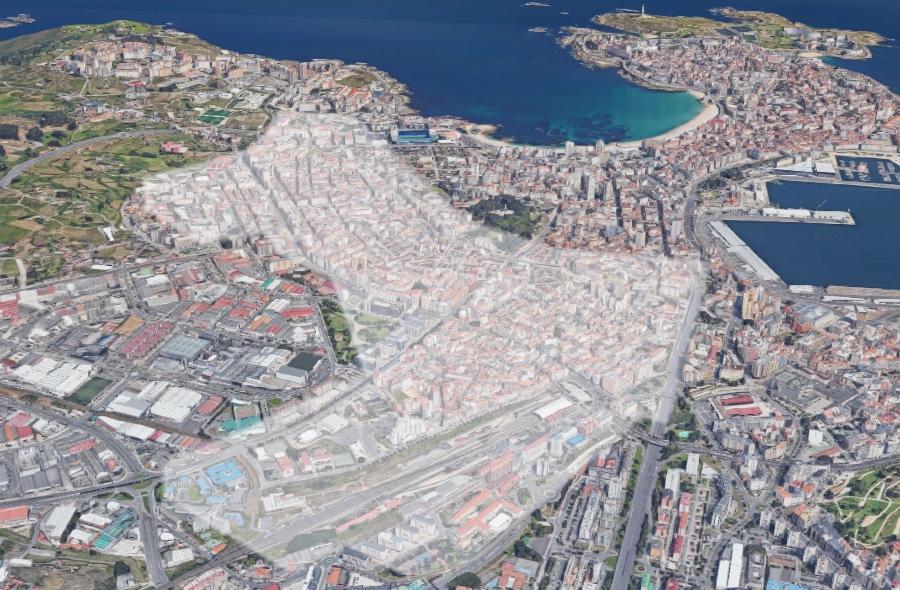 Área aproximada na que se manteñen as limitacións na cidade da Coruña. Fonte: Google Maps / Elaboración propia cos datos da Consellería de Sanidade.