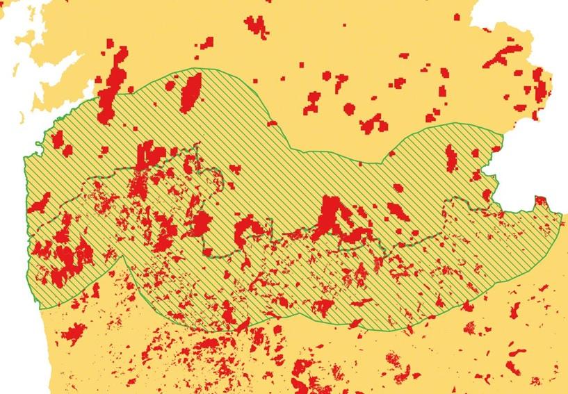 Incendios de 2012 a 2017 na Área Transfronteiriza de Galicia e o norte de Portugal. Fonte: Eixo Atlántico.
