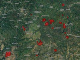 Estimación da superficie queimada nos principais incendios rexistrados en Ourense desde o sábado, segundo o sistema EFFIS do satélite Copernicus.