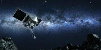 Ilustración que recrea a manobra de Osiris-Rex ata o asteroide Bennu. Fonte: asteroidmission.org.