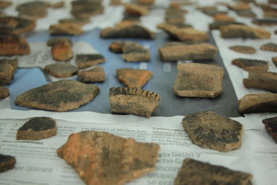 Detalle das pezas cerámicas atopadas nas Barreiras. Foto: Concello de Vimianzo.