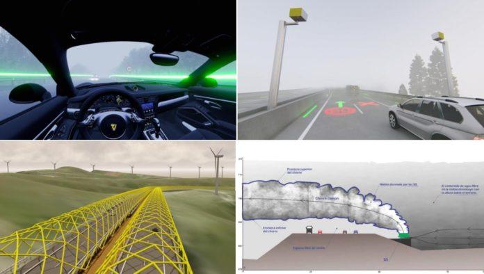Deseño das catro propostas que se probarán no tramo do Fiouco. Fonte: Mitma.