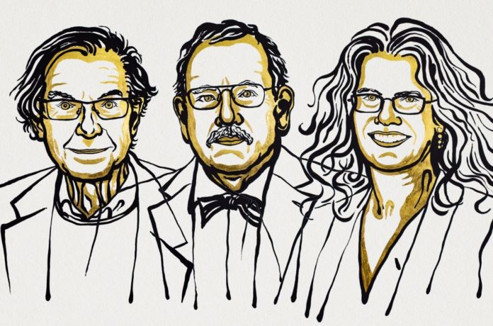 Roger Penrose, Reinhard Genzel e Andrea Ghez. Ilustración de Niklas Elmehed/Nobel Media.