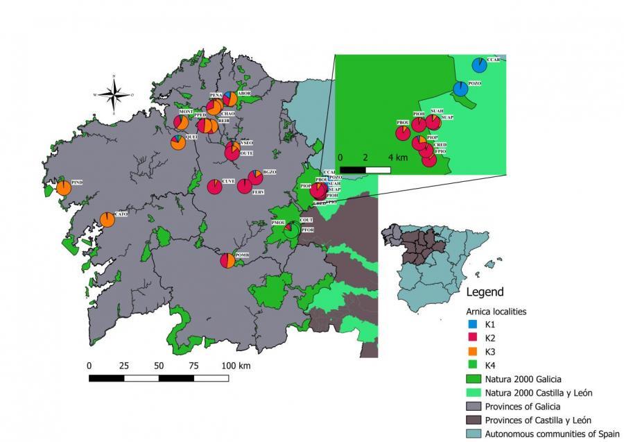 Mapa de Galicia con localizacións de poboacións de árnica. Fonte: USC.
