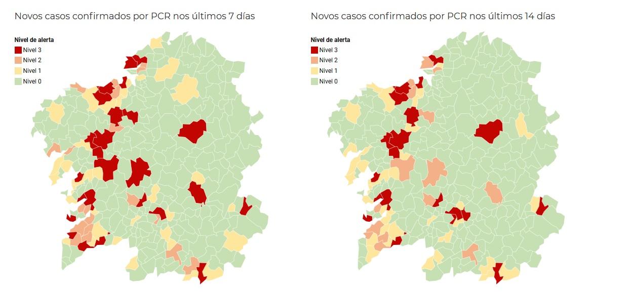 Mapa de risco municipal, con datos pechados o xoves 22 ás 18 horas. Fonte: Consellería de Sanidade.