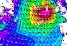 Modelo de ondas previsto para a madrugada do martes ao mércores. Fonte: MeteoGalicia.