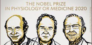 Harvey J. Alter, Michael Houghton and Charles M. Rice, artífices do achado do virus da hepatite C. Fonte: Nobel Prize.
