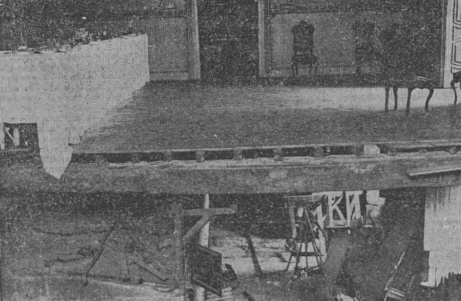 Estado no que quedou parte do Pazo de Oca despois do accidente. Foto: El Pueblo Gallego.
