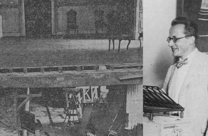 Imaxe do derrubamento no Pazo de Oca, no que faleceu unha persoa e medio cento de persoas resultaron feridas. Á dereita, Schrödinger na súa conferencia en Santiago. Imaxes: El Pueblo Gallego.