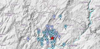 Mapa de intensidades do sismo rexistrado a noite do luns na comarca do Carballiño. Fonte: IGN.