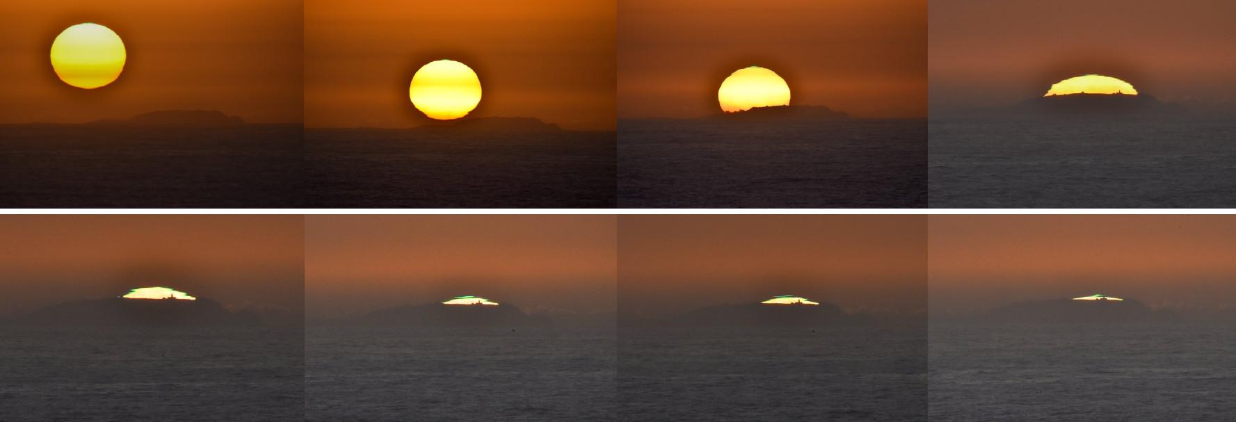 Secuencia do raio verde sobre o faro das Sisargas. Imaxes cedidas por David Couce.