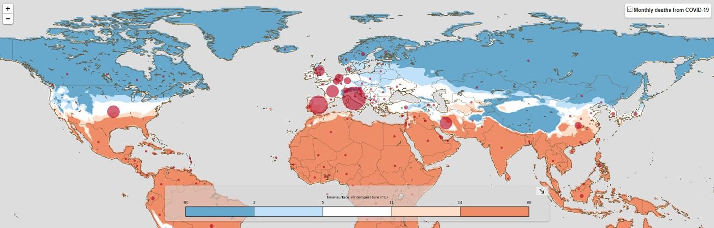 Mapa elaborado polo Copernicus Climate Change Service (C3S*) que amosa os lugares con máis mortes no mes de marzo e a temperatura media en cada rexión. Imaxe extraída de https://climate.copernicus.eu/coronavirus-and-climate-c3s-helps-health-experts