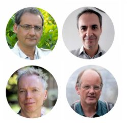 Arriba, Felipe Criado e Luís Martínez Otero; abaixo, Andy Clark e Johannes Müller. Son os catro investigadores principais do proxecto. Foto: Incipit.