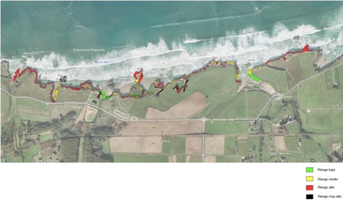 Cartografía de risco de Augas Santas desenvolvida no estudo coordinado por Luis Medina Rodríguez. Imaxe cedida polo autor.
