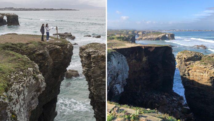 Imaxe da zona do desprendemento antes e despois do suceso. Fotos: cedida por Luis Medina (esquerda) e Concello de Ribadeo (dereita).