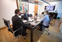Reunión do comité clínico co presidente da Xunta e os conselleiros de Sanidade e Política Social, celebrada este luns 18 de xaneiro. Foto: xunta.gal.