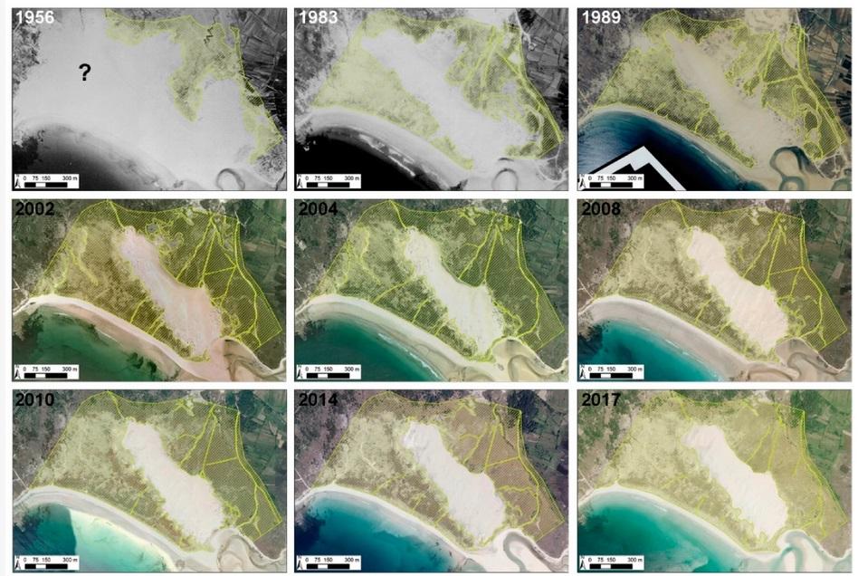 Evolución dos sendeiros arredor da duna de Corrubedo. Fonte: Pérez Alberti et al. (2021).