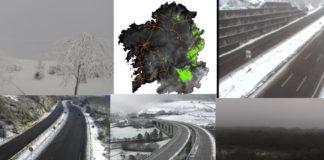 A neve apareceu na mañá do primeiro luns de 2021 en boa parte do interior de Galicia. Imaxes: DGT/MeteoGalicia.